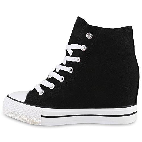 Damen Sneakers Stoff | Sneaker Wedges Blumen | Camouflage Sneaker Keilabsatz | Details Schuhe Zipper Denim Schwarz Weiss Schwarz
