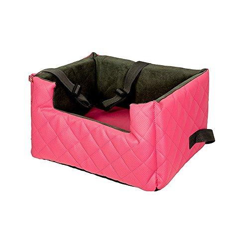 Amibelle komfortabler Hundesitz | LUX M Rosa | L 47 x B 40 x H 25 cm | Autositz Rückbank/Vordersitz | Luxus für Hunde | ohne Chemie -