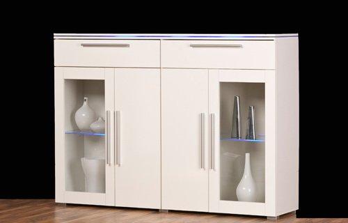 Highboard, Front Hochglanz weiß und Korpus weiß, mit 2 Holztüren, 2 Glasrahmentüren und 2 Schubkästen, Maße: B/H/T ca. 140/102/34 cm