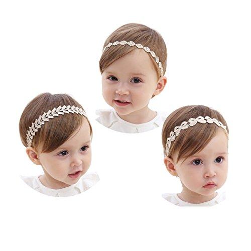 JMITHA 3 Stück Baby Stirnbänder Baby Mädchen Kids Turban Haarband Stirnband Kopfband Baby schmuck Babyschmuck Babygeschenke & Taufe (01)