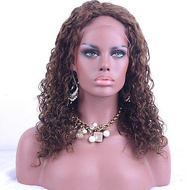 Perücke Mod Mode (Bestnote brasilianische reine Haar Spitze-Front Perücken verworrenen lockigen Haar mittelbraune Farbe Menschenhaa Spitze-Perücke)