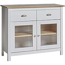 aparador buffet 2 puertas con cristal templado color blanco fabricado con pino macizo - Aparadores De Cocina