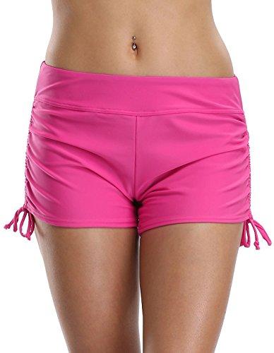 Attraco Damen Bikinihose Schnürung Badehose Hotpants Chic Tankinihose Mehrfarbig Rosa 2XL (Nylon-stretch-boardshorts)