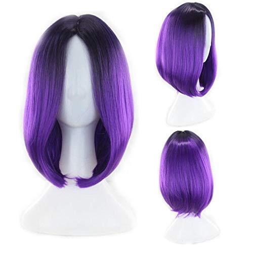 Highlight Frauen Kurze Synthetische Perücken Ombre Haar Für Cosplay Halloween Two Tones Lila 14 Zoll -