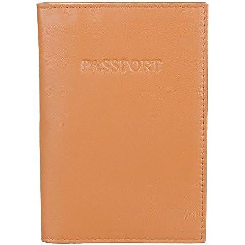 Passaporto in vera pelle, a portafoglio, con supporto, per internazionale da viaggio