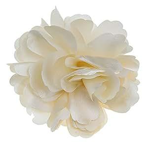Pixnor 2-in-1 bella peonia raso fiore stile donne ragazze capelli Clip tornante Spilla (Beige)