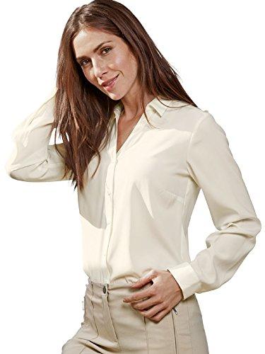 Walbusch Damen Easycare Seiden-Hemdbluse einfarbig in den Farben Weiß, Cremeweiß und in der Ärmellänge Langarm Cremeweiß