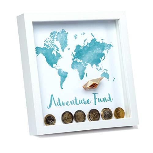 Treehouse Premium Products 3D-Bilderrahmen Spardose mit 5 austauschbaren Motiven, Geschenkidee & Geldgeschenk in weiß für Hochzeit, Geburtstag, Reisen, Geburt und Träume