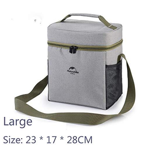 LUNYHHSA Outdoor Picknick Tasche Lebensmittel Thermoskanne Kühlbox wasserdichte Mittagessen Inkubator Tasche Outdoor Camping Wandern Park Picknick Verwendet Grey-Large
