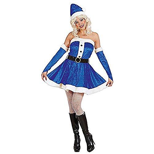Kostüm Weihnachtsmann Blau Luxus Damen Babba Miss Santa Claus Größe S (Mutter Claus Kostüm)