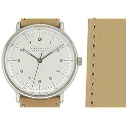 Armbanduhr Max Bill, mechan. Werk!|mit Zahlenblatt weiß, Armband beige [A]