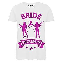 Idea Regalo - CHEMAGLIETTE! T-Shirt Divertente Donna Maglietta con Stampa Addio al Nubilato Bride Security Tuned, Colore: Bianco, Taglia: L