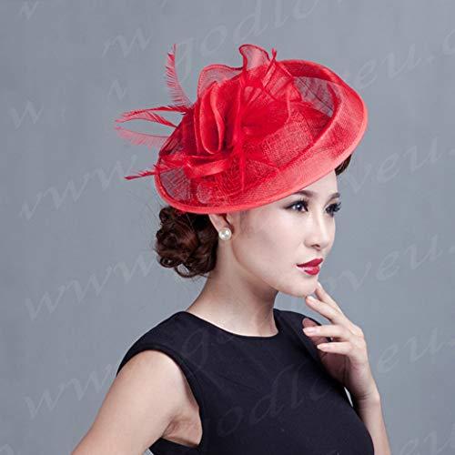 European Women Fashion Party Kopfschmuck Bowler Hat Philippinen Hanf Tiara Material Mehrfarben (Farbe : ()