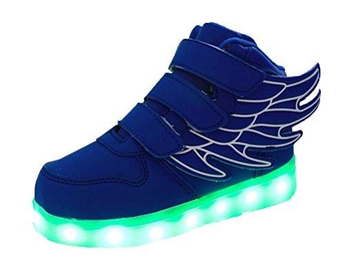 Ake Children LED Light Schuhe USB Charging Flashing Sport Wing Shoes Luminous Sneakers Skidproof Blue