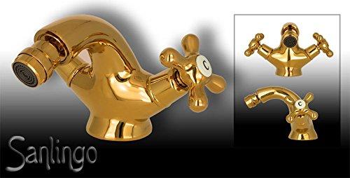 Retro Design Bidet Kreuzgriff Armatur Sanlingo Gold GLORIA