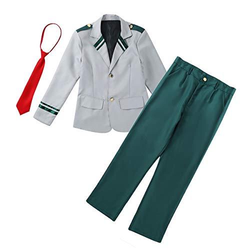 Agoky Unisex Schul Uniform Set Anzug Krawatte Jacke+Hose/Jacke+ Faltenrock Mini Plissee Röcke Cosplay Bekleidungsset Dunkelgrün Anzug X-Large