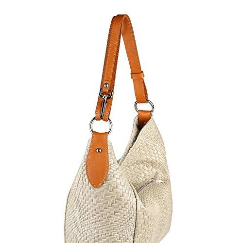 OBC Made in Italy DAMEN TASCHE LEDER DIN-A4 Shopper Schultertasche Ledertasche Umhängetasche Handtasche Henkeltasche Flechtoptik Rosa Taupe