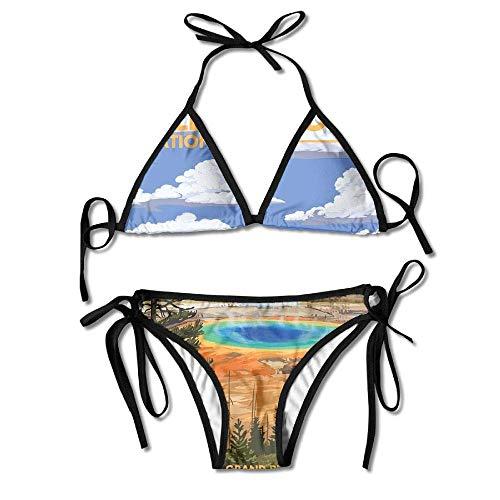 Zcfhike National Park - Grand Prismatic Spring Women Sexy Low Waist Bandage Bikini Beachwear Swimsuit -