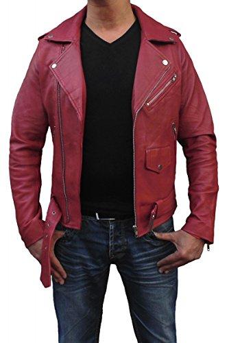 Blouson perfecto cuir veritable pour homme Rouge
