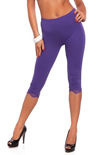 Jambières à viscose à longueur 3/4 à perles féminines Leggings à dentelle avec dentelle Violet