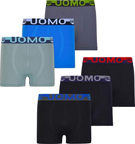 Herren Microfaser Boxershorts Uomo 9 Farbvarianten 12er 6er 3er Pack Elastan Schwarz Neon Palme Sterne Streife Löwe Eagle, Gr.-L, 6x Eagle