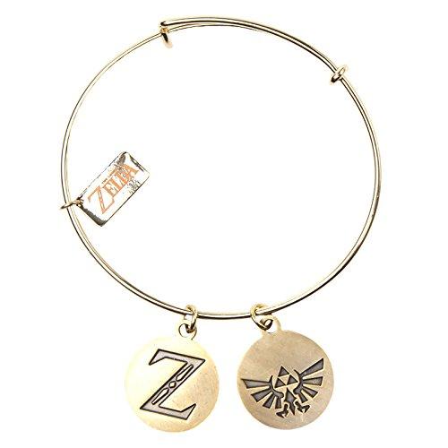 The Legend of Zelda Wristband Bracelet With Z & Triforce Charms Gold
