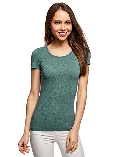oodji Ultra Damen Tailliertes T-Shirt Basic, Grün, DE 38/EU 40/M