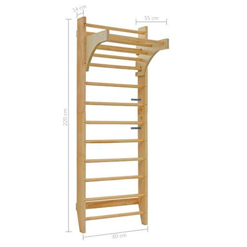 Tidyard-- Sprossenwand 80 x 55 x 220 cm Holz Children's Home Gym Gymnastic Climbing Scaffolding Fram