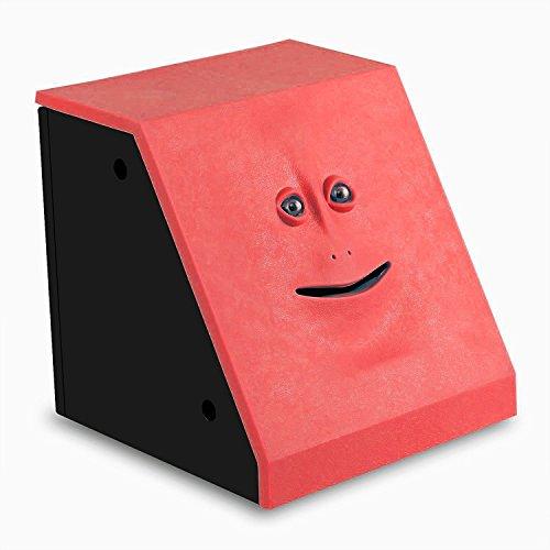 ShinMor Gesicht Münze Bank Geld Essen Münzenbank Batteriebetriebener AFFE Spardose Rot