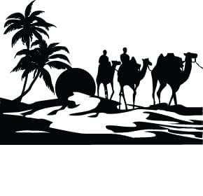 Coucher de soleil magnifique dessert et promenade a dos de chameau. - 60cm Largeur - Hauteur 24cm - noir vinyle