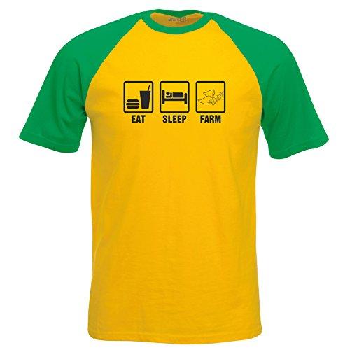 Eat Sleep Farm, Kurzarm Baseball T-Shirt - Gelb & Gruen 2XL (119-124 cm) (T-shirt Farm Gelb)