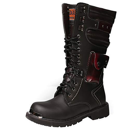 Shoes Botas Martin de Hombre con Cremallera clásica y Botas Altas,Botas de Cuero Punk Botas de policía góticas,Botas Desnudas Impermeables Antideslizantes Botas de Trabajo