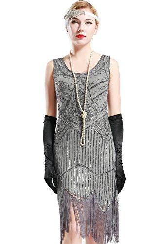 BABEYOND Retro 1920s Stil Damen Kleid Karneval Flapper Kleid V Ausschnitt Troddel Gatsby Mottoparty Damen Kostüm Kleid (Grau, Etikette L/ UK16/ EU44)