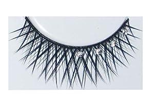 Eulenspiegel 000939 - pestañas artificiales - Negro cruzado con diamantes de imitación - 2 x 1 piezas