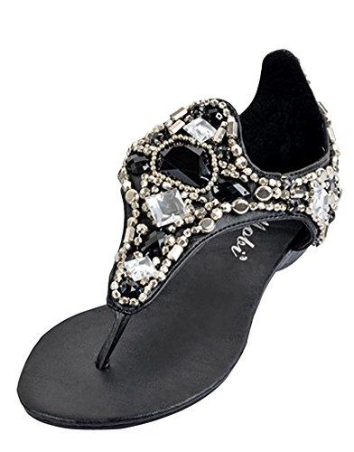 2e1b1f54ad0 Minetom Mujer Verano Romano Bohemia T-Correa Sandalias Diamante De  Imitación Chanclas Cuña Zapatos Clip. Ver Precio