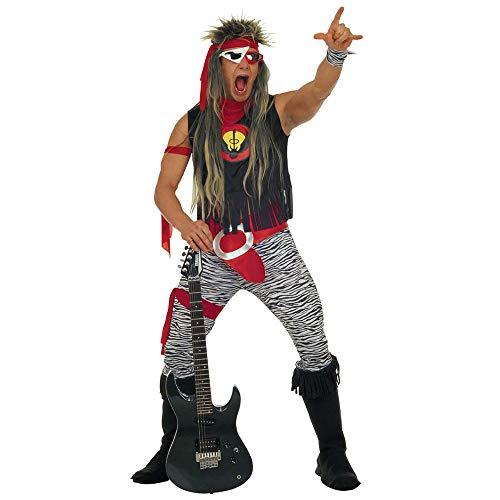 Widmann 37863 - Erwachsenenkostüm Rock Star, T- Shirt, Hose, Gürtel, Handgelenkbänder und Überstiefel, Größe L