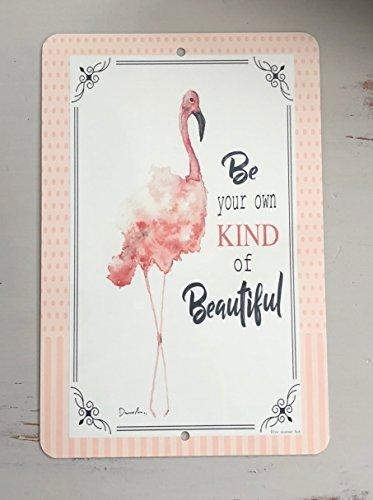 Monsety Metall-Aluminium-Schild Flamingo Strand Deko Plakette für Hof, Garage, Auffahrt, Haus, Zaun -