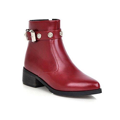 AllhqFashion Damen Niedrig-Spitze Rein Stiletto Blend-Materialien Spitz Zehe Stiefel, Golden, 38