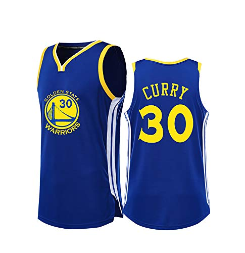 TFTREE Curry # 30 Jersey Sport T-Shirt Fans Sportswear Männer und Frauen Jugend Basketball Sportswear, ärmelloses T-Shirt, Blau Weiß Blue-XXL - Die Jugend Weiß Basketball T-shirt