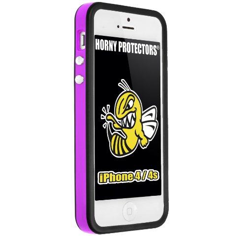 Horny Protectors Bumper für Apple iPhone 4 rosa/weiß mit Metallbutton Violett Schwarz