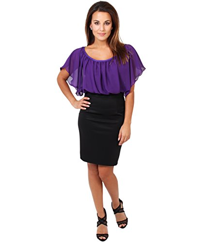 KRISP® Damen Kleid Chiffon Stretch Minikleid Violett (3632)