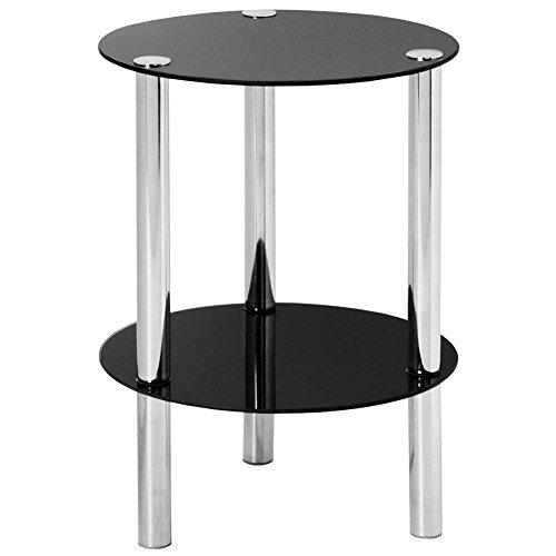 Bakaji mobiletto tavolino rotondo tavolo struttura tubolare in acciaio 2 ripiani in vetro soggiorno salotto dimensione 40 x 50 cm nero