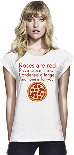 Roses Are Red Pizza Sauce Is Too Slogan Womens Continental Rolled Sleeve T-Shirt Large Continental-sauce