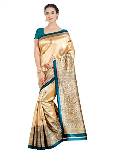 OOMPH! Raw Silk Saree With Blouse Piece(rbks_koyal022_green_Beige_Free Size)