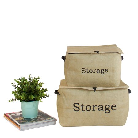 G Home Collection fermeture de boîte de rangement de linge de couvercle avec poignée (set of 2)