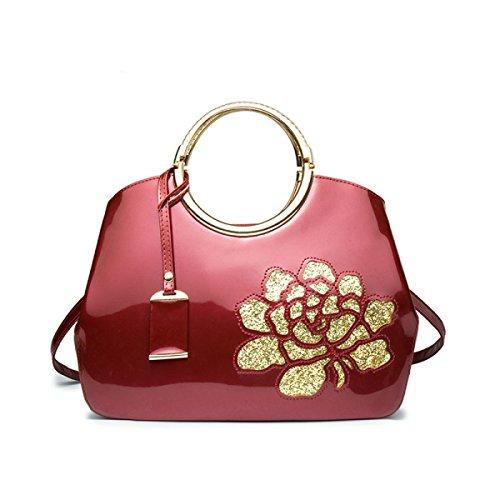 58373482aa6ec Mode Lackleder Handtaschen Glänzende Shell Bag Damen Schultertasche  Umhängetasche Hohle Rosenblüten Burgundy