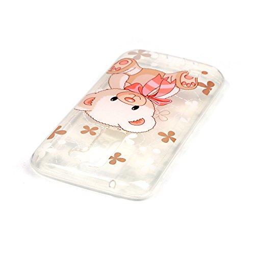 LG K8 Custodia in Pelle ,Feeltech iPhone SE/5S/5 Ultra Sottile Crystal Clear Copertura in Silicone Alta Qualità Colorful Design Pattern Jelly Protective Flessibile Soft Shell di TPU Gel Assorbimento U Orso Rosa Carino