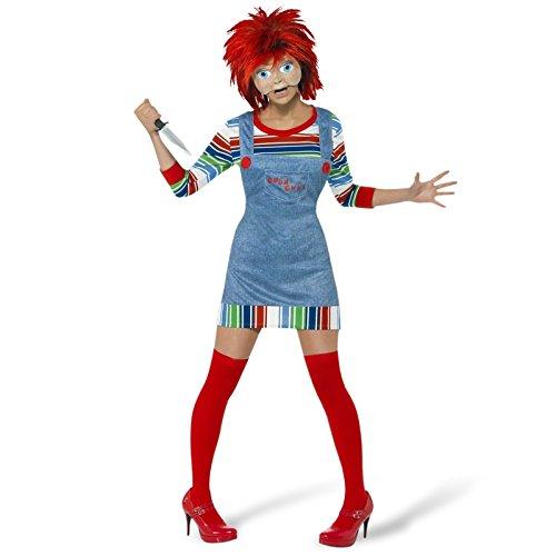 Halloween Damen Kostüm Chucky Mörderpuppe aus Horrorfilm Größe M (Erwachsene Halloween-kostüme Chucky Für)