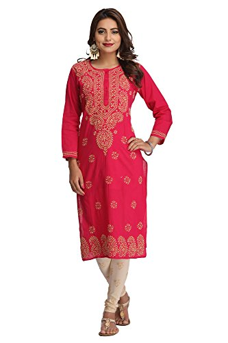 ADA Hand Embroidered Lucknow Chikan Casual Cotton Kurta Kurti A188180