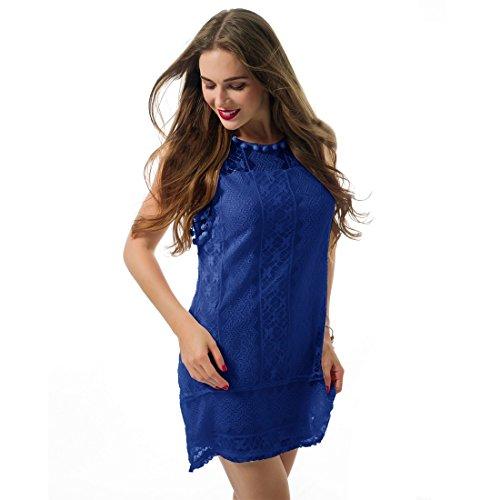 Ai.Moichien Sommer Weisse Minikleid Frauen Spitze Kleid Beilaeufiges Sleeveless Partei Kleid
